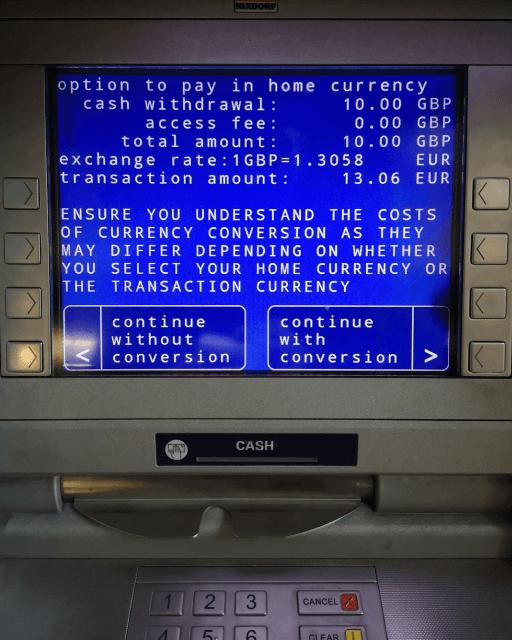 Revolut ATM Conversion options